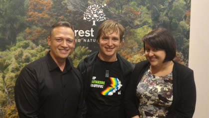 Hone McGregor, Chief Executive Forest and Bird, Michael Tavares and Kimberley Collins, Online Communications Officer F&B.